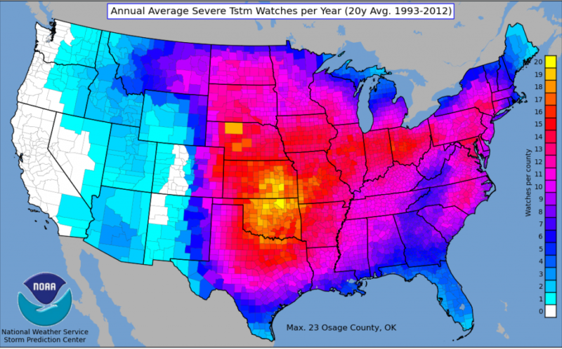 Average Severe Thunderstorm Watches Per Year 1993-2012