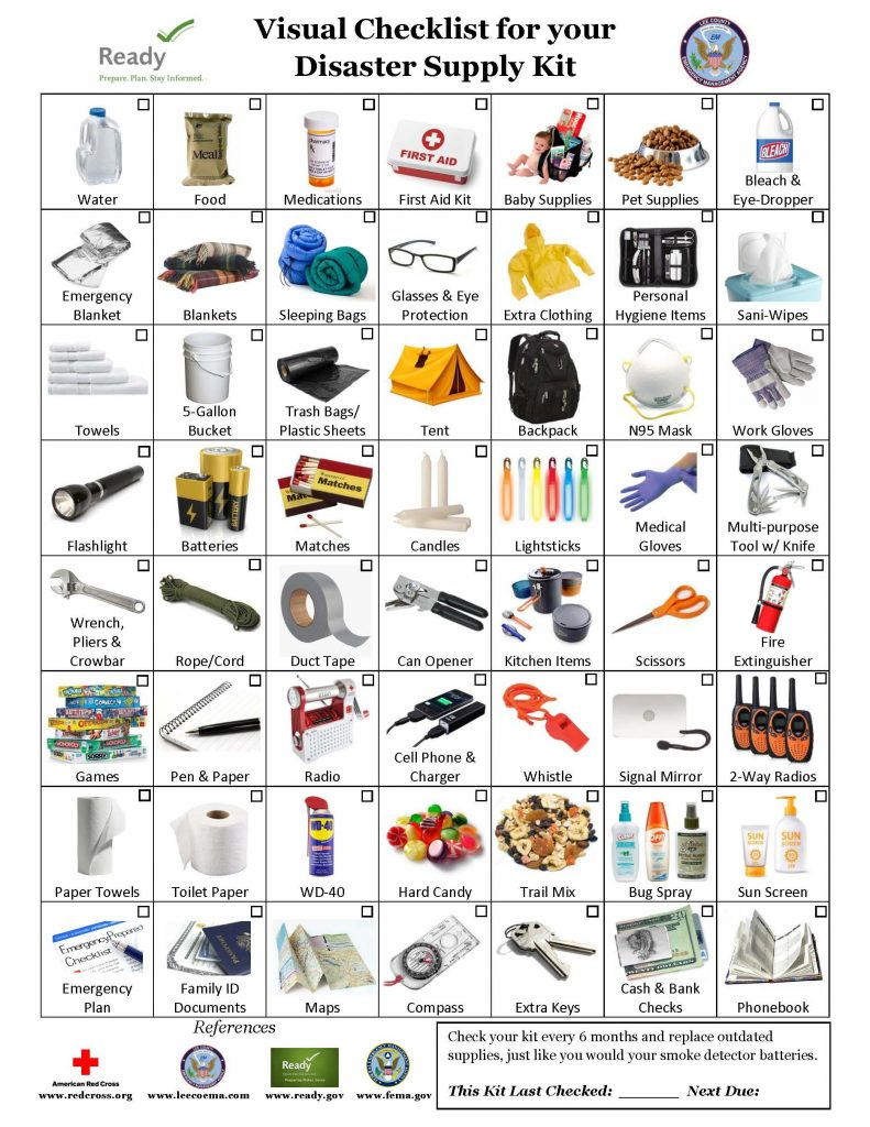 Visual Checklist for you Disaster Supply Kit